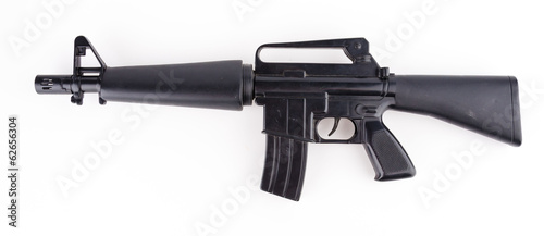 Black plastic gun isolated white background