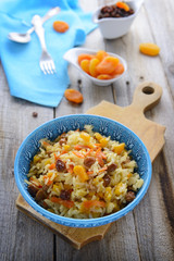 Oriental cuisine: sweet pilaf with dried fruits