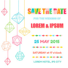 Save the Date  - Wedding Invitation Card with Colorful Geometric