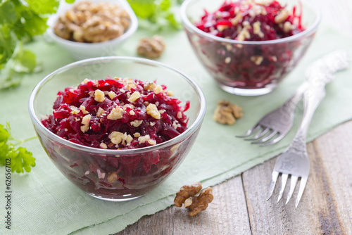 Salad from boiled beetroot and walnuts