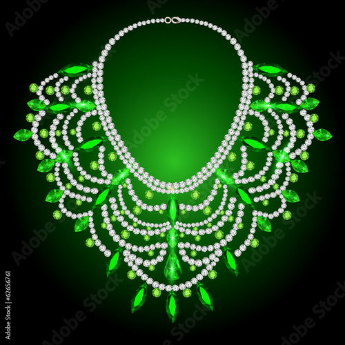 feminine vintage necklace with green gems
