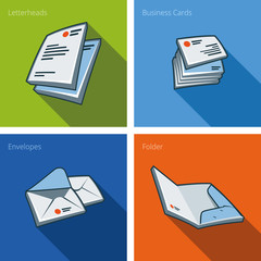 Stationary icon set in cartoon style