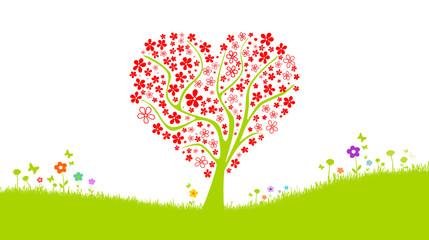 Blumenwiese mit Baum in Herzform