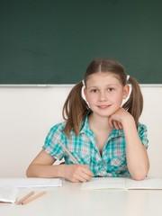 Schülerin schreibt in ihr Heft
