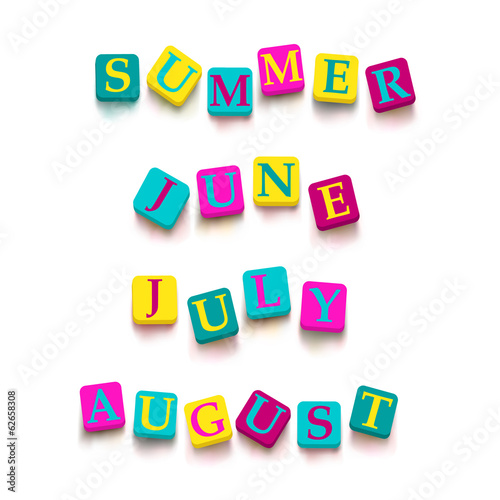 "Words ""summer"", ""june"", ""july"", ""august"" with colorful blocks"