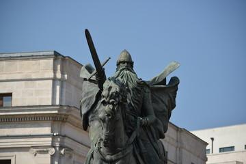 Detalle de la estatua de El Cid Campeador en Burgos, España