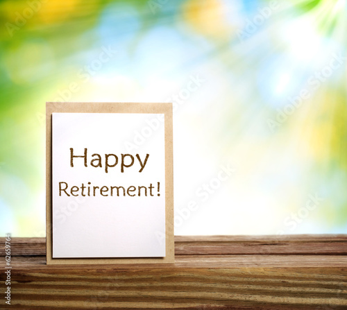 Happy retirement card on shiny green background