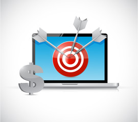 dollar target and laptop business concept