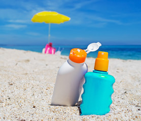 suntan lotion bottles