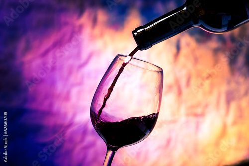 Red Wine Poured into Wineglass
