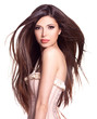 canvas print picture - beautiful white pretty woman with long straight hair