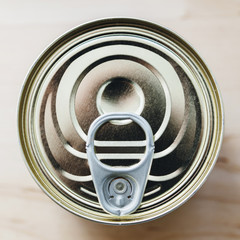 Tin can (canned food) with ring pull from above