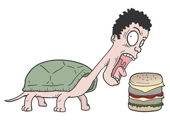 Turtle man and burger