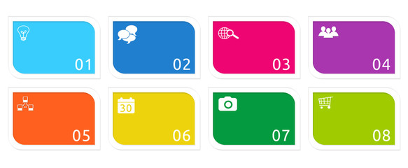 Colorful buttons for Web page menu, marketing or presentations