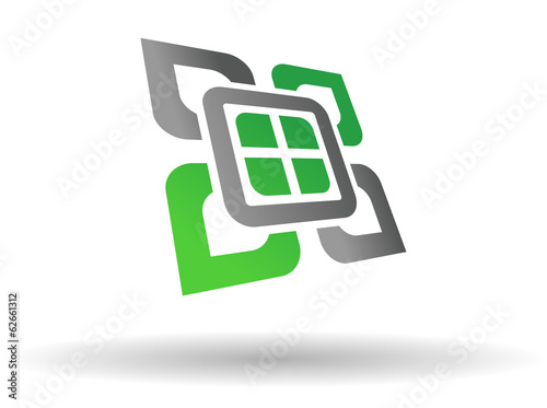 Abstract green and grey symbol