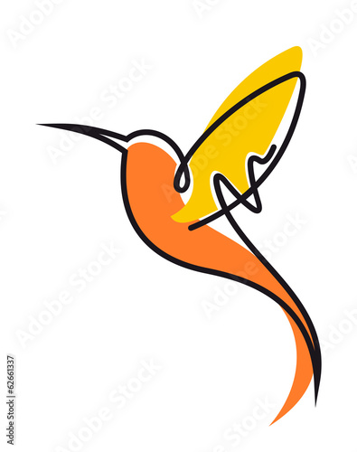Flying hummingbird in yellow and orange