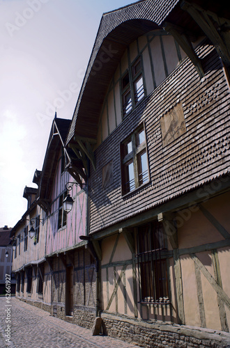 Tenements in old town of Troyes, France .
