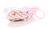 Shells with pearls, isolated on white
