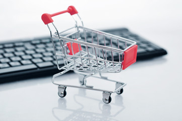 Shopping cart and keyboard
