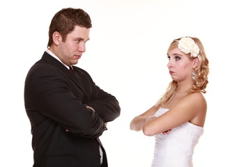 Wedding couple, conflict bad relationships angry expression.