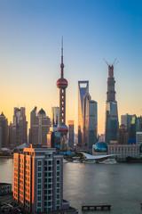 Fototapeta wieżowce w Szanghaju nocą