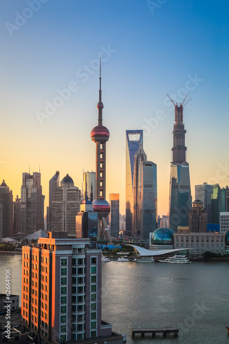 shanghai skyline in sunrise
