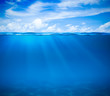 canvas print picture - Sea or ocean water surface and underwater