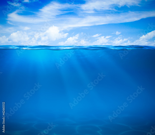 Poster Koraalriffen Sea or ocean water surface and underwater