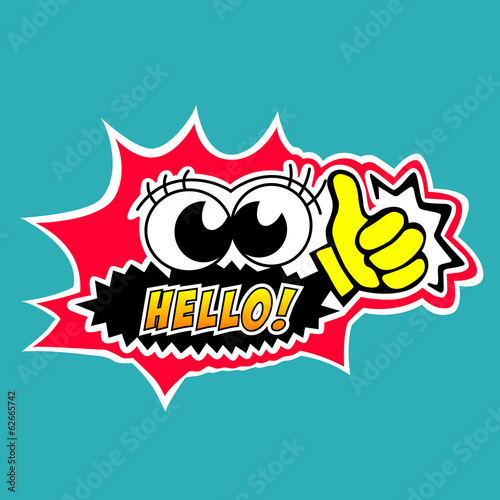 Hello bubble speech cartoon style.