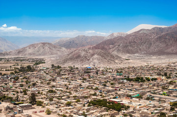 Biggest dune in the world dominates the city of Nazca, Peru