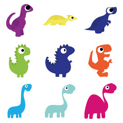 Vector Set Of Different Cute Cartoon Dinosaurs Isolated