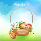 Illustration of basket full of colorful decorated Easter eggs .