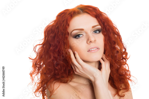 Portrait beautiful red haired young girl