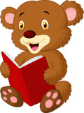 Cute bear reading