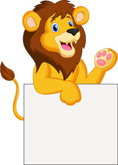 Happy lion holding blank sign