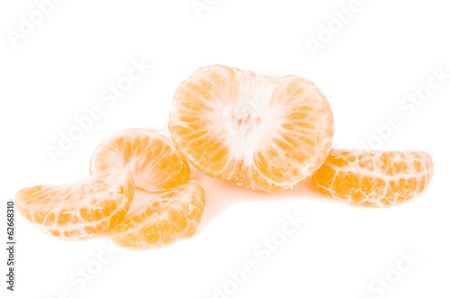 tangerine slice on a white background