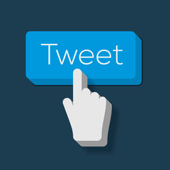 Tweet button with Hand Shaped Cursor, vector Eps10 image.