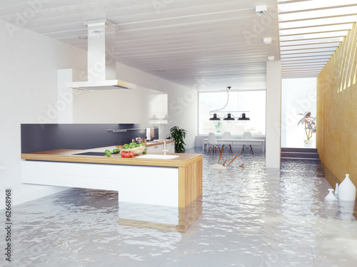 flooding kitchen. 3d