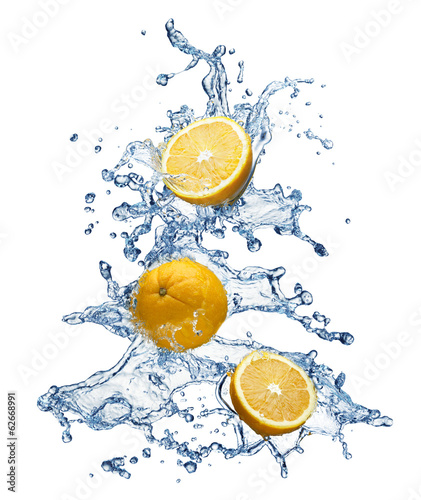 Orange fruit and water splash