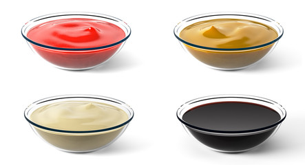 Various sauces. Small portions. Isolated on white