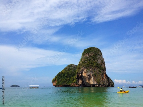 human sailing kayak boat at Railey beach, Krabi, Thailand