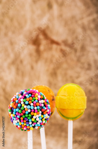 Colorful lollipop candy on a stick