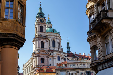 Houses and Saint Nicholas Church in Lesser Town, Prague