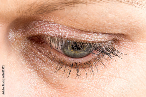 middle age woman eye macro