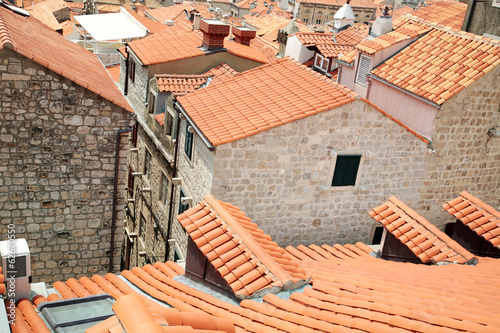Dubrovnik, Croatia. Tiled rooftops of old town.