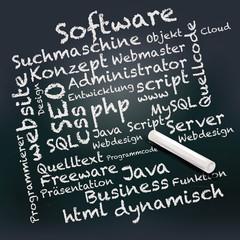 Tafel und Kreide mit PHP, SEO, Informatik und software