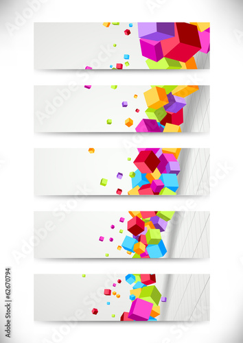Colorful bright cubes fly - cards collection
