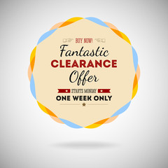 Fantastic clearance offer badge, vintage style for marketing