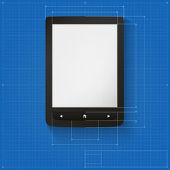 Realistic e-book on the drawing grid with dimensions.