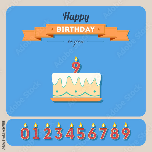 Happy birthday card with cake and candle number